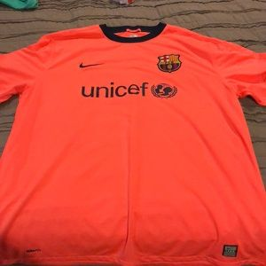 official photos 10251 5363d Barcelona fc orange Messi Jersey